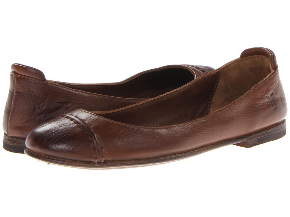 Frye - Phillip Cap Toe Ballet (Cognac Soft Vintage Leather) Women's Flat Shoes