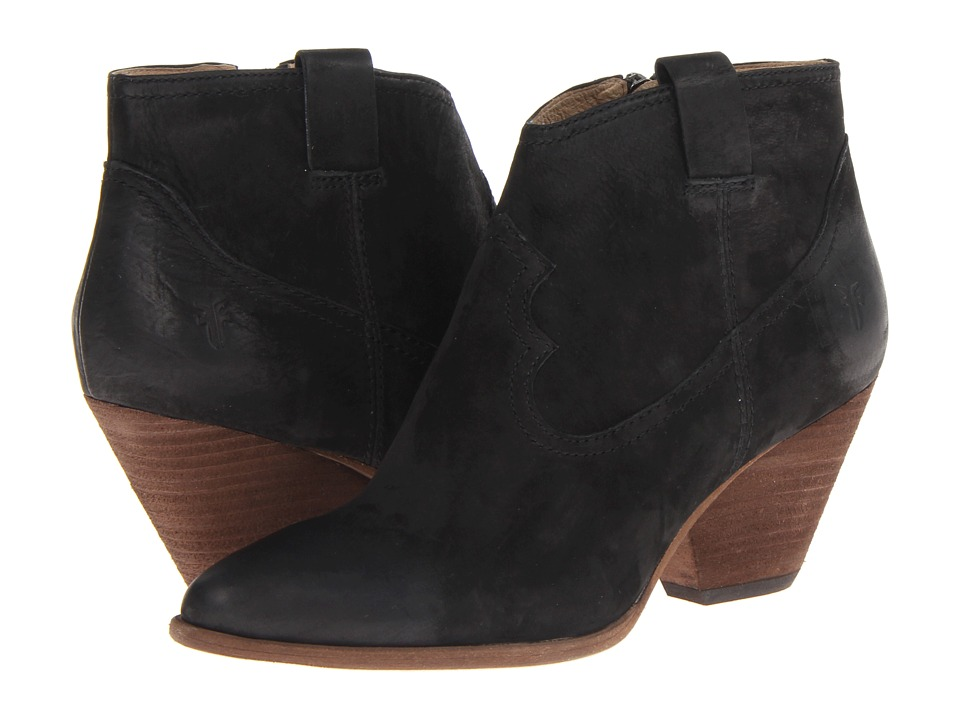 Frye - Reina Bootie (Black Buffed Nubuck) Cowboy Boots