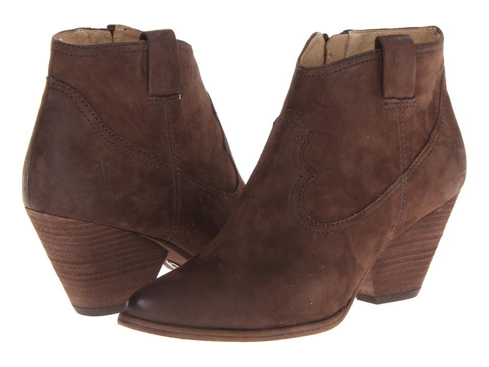 Frye - Reina Bootie (Dark Brown Buffed Nubuck) Cowboy Boots