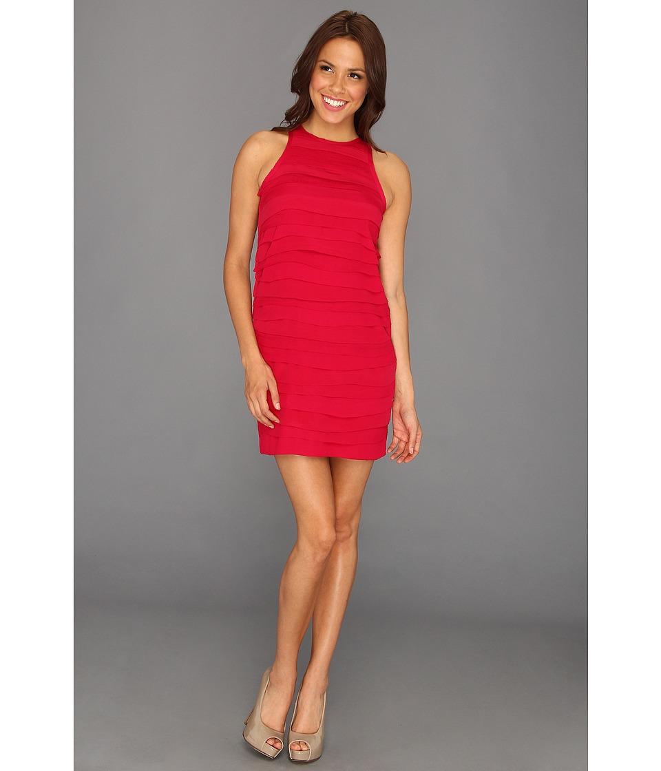 Nicole Miller Tiered Georgette Dress Womens Dress (Red)