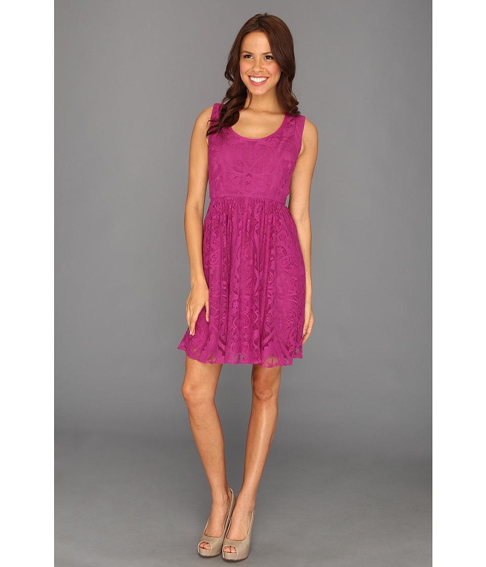 Nicole Miller Placement Lace Dress Womens Dress (Burgundy)