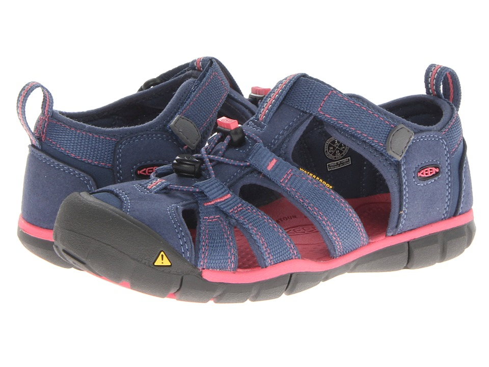 Keen Kids - Seacamp II CNX (Little Kid/Big Kid) (Ensign Blue/Camellia Rose) Girls Shoes