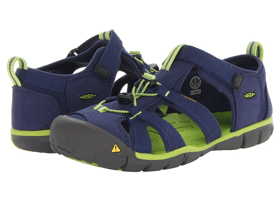 Keen Kids - Seacamp II CNX (Little Kid/Big Kid) (Blue Depths/Lime Green) Boys Shoes