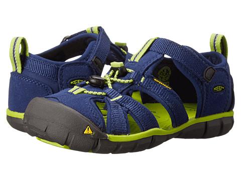 Keen Kids - Seacamp II CNX (Toddler/Little Kid) (Blue Depths/Lime Green) Boys Shoes