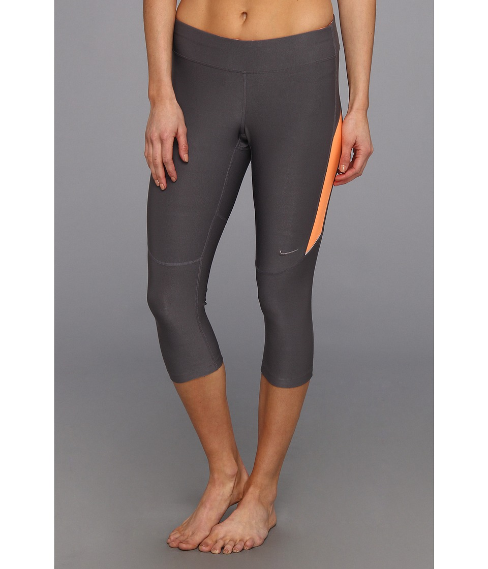 Nike - Filament Capri (Dark Grey/Atomic Orange/Atomic Orange/Matte Silver) Women's Capri