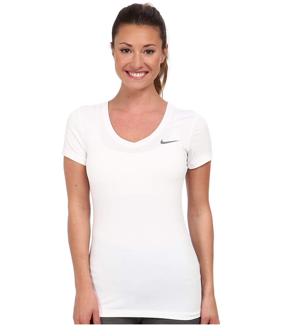 Nike - Pro S/S V-Neck Top (White/Cool Grey) Women's T Shirt