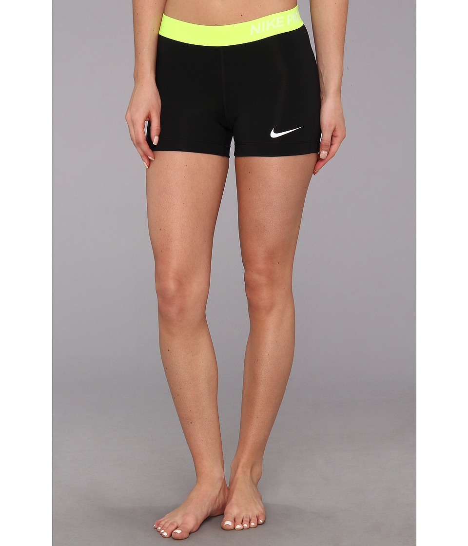 Nike - Pro Three-Inch Short (Black/Volt/White) Women's Shorts