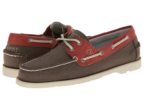 Sperry Top-Sider - Leeward 2-Eye Canvas (Chocolate/Red) Men's Slip on Shoes