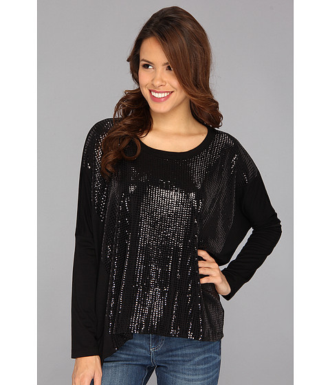 Karen Kane - Sequin Contrast Tunic (Black) Women's Blouse