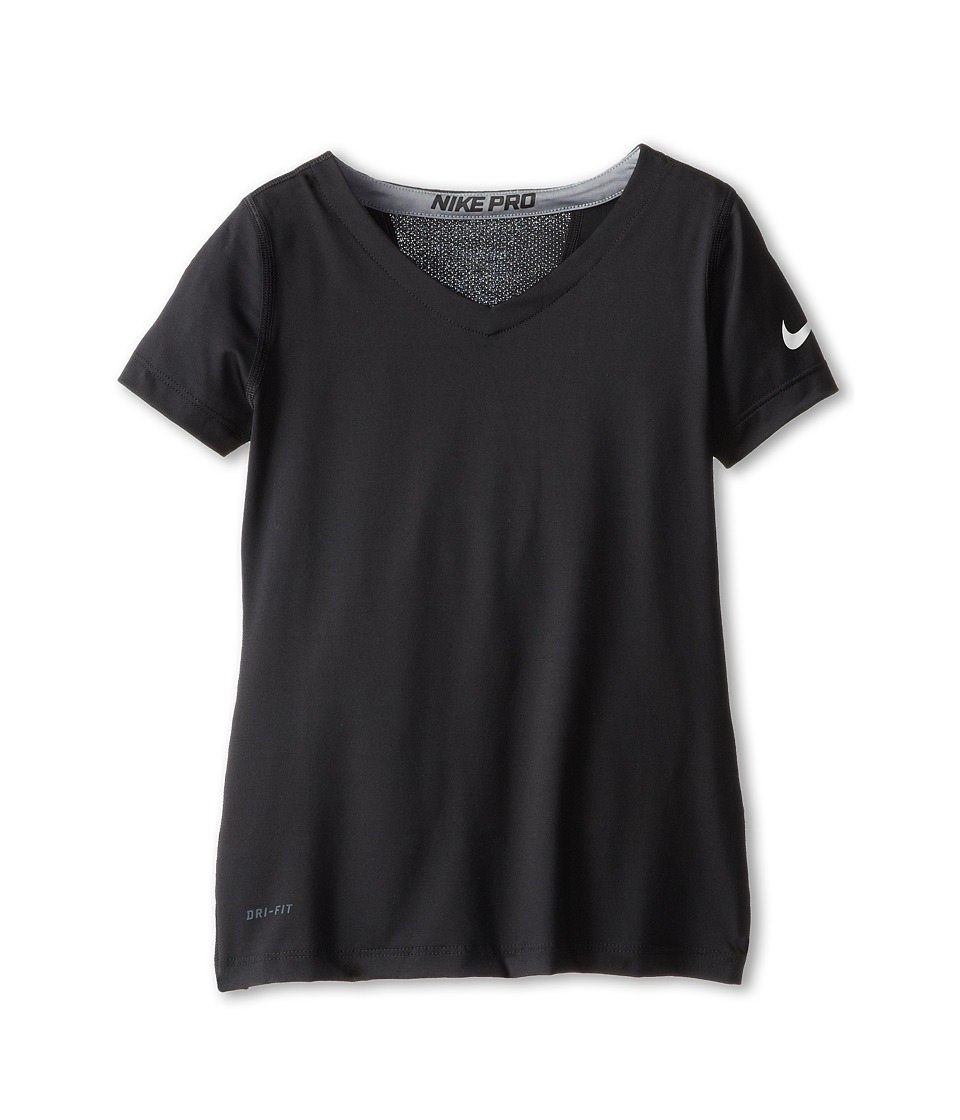 Nike Kids - Pro S/S Top (Little Kids/Big Kids) (Black/Cool Grey/White) Girl's Short Sleeve Pullover