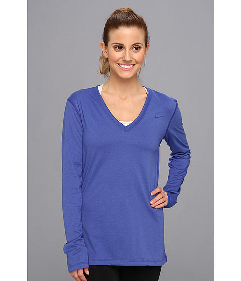 Nike - Regular Long-Sleeve Legend Tee V-Neck (Deep Night/Deep Night) Women