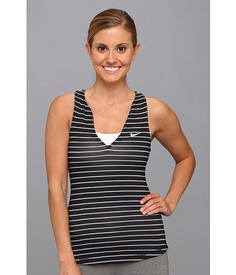 Nike - Stripe Pure Tank Top (Black/Matte Silver) Women