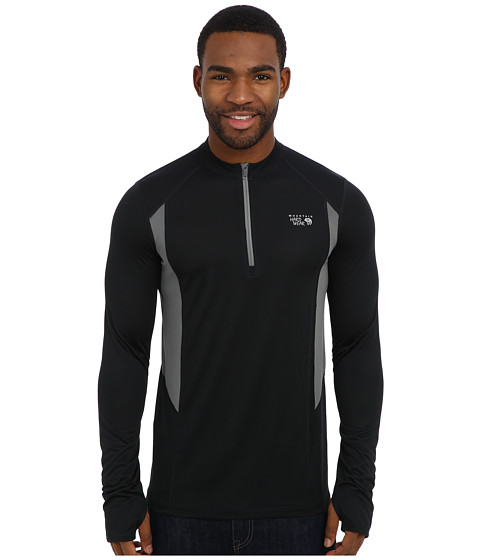 Mountain Hardwear - Double Wicked L/S Zip Tee (Black) Men