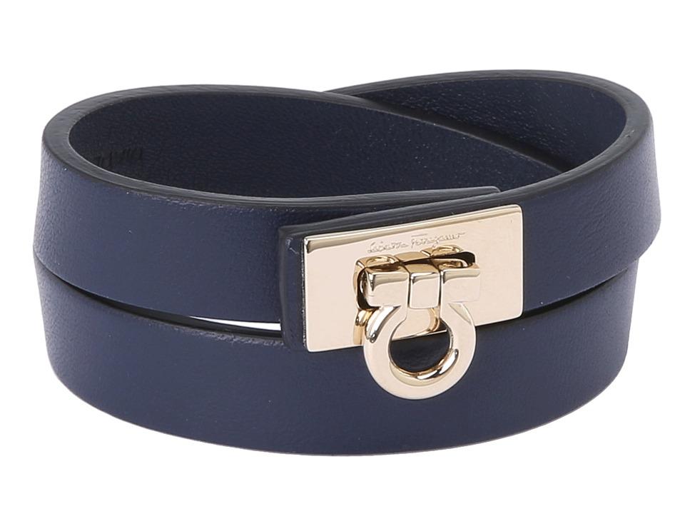 Salvatore Ferragamo - 1530 BR Gancet 2G (Oxford Blue/Oro) Bracelet