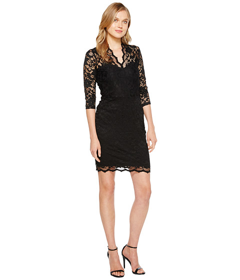Karen Kane - V-Neck Scallop Lace Dress (Black) Women's Dress