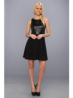 SALE! $61.99 - Save $113 on Laundry by Shelli Segal Faux Leather and Ponte Racer Back Flared Dress (Black) Apparel - 64.58% OFF $175.00