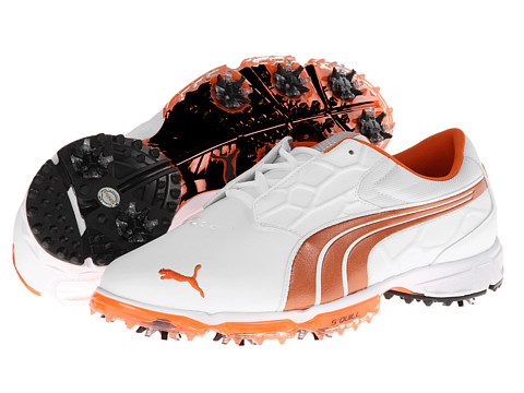 PUMA Golf - Biofusion Lite (White/Vibrant Orange) Men's Golf Shoes