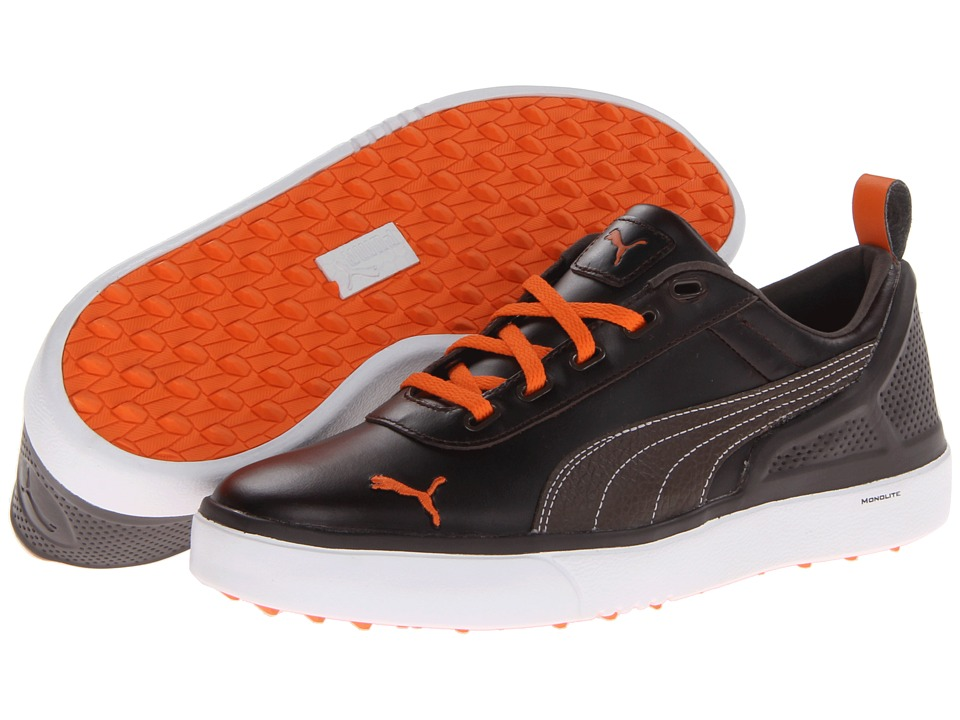 PUMA Golf - Monolite (Chestnut/Black Coffee/Vibrant Orange) Men's Golf Shoes
