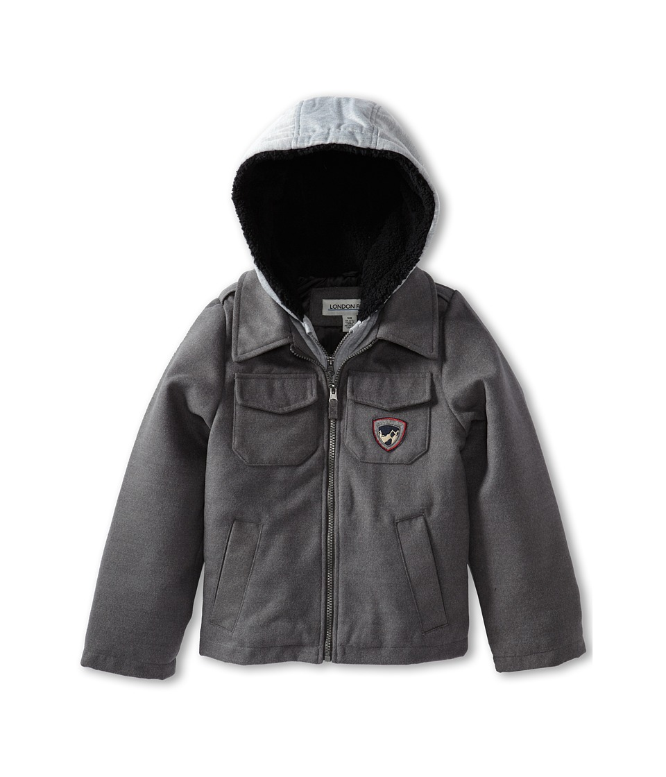 London Fog Kids - L213D60 Hooded Jersey Fashion Jacket (Big Kids) (Grey) Boy