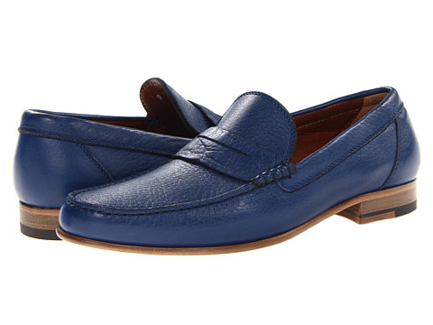 a. testoni - Deer Leather Penny Loafer (Blue) Men