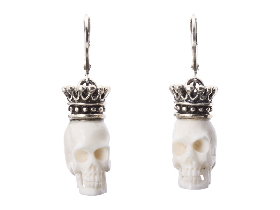 King Baby Studio - Crowned White Bone Skull Leverback Earrings (White) Earring