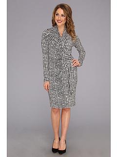 SALE! $41.99 - Save $97 on Karen Kane Parisian Check Cascade Wrap Dress (Plaid) Apparel - 69.79% OFF $139.00