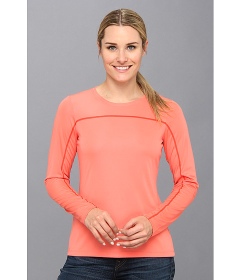 Columbia - Insect Blocker Knit L/S Shirt (Hot Coral/Red Hibiscus) Women's Long Sleeve Pullover