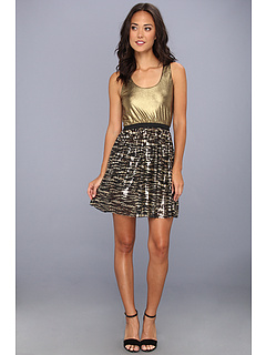 SALE! $96.99 - Save $119 on Tbags Los Angeles Waisted Tank Dress w Metallic Gold Top Sequin Skirt (Black Gold) Apparel - 55.10% OFF $216.00