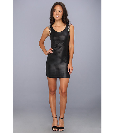 Tbags Los Angeles - Laser Cut Sleeveless Mini Dress w/ Shoulder Embroidery (Black Laser Cut) Women