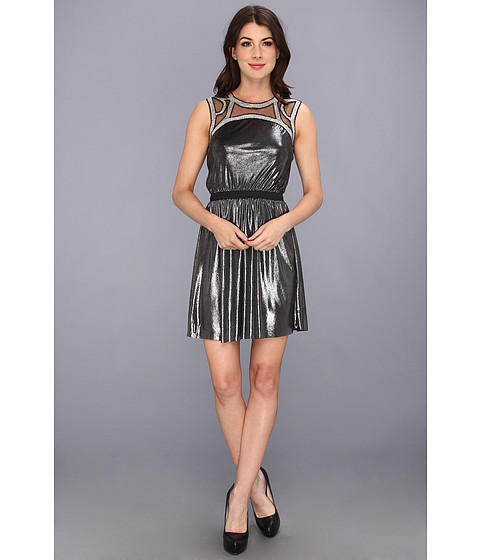 Tbags Los Angeles - Sleeveless Waisted Mini Dress w/ Beaded Neck Trim (Silver) Women's Dress