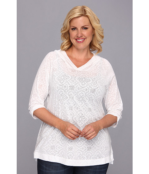 Columbia - Plus Size See Through You Burnout Hoodie (White Floral) Women