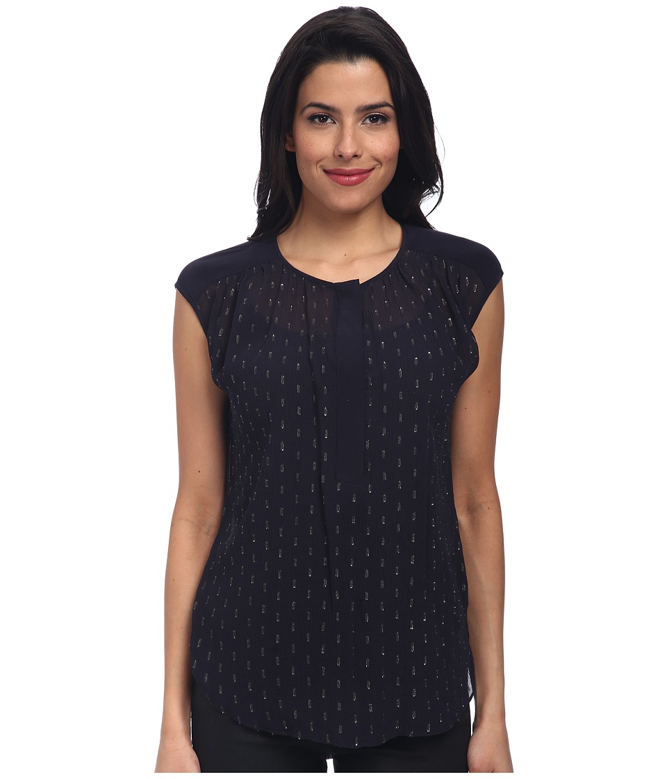 Rebecca Taylor - S/L Metallic Clip Blouse (Midnight) Women's Clothing