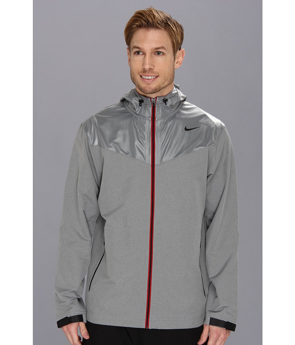 Nike - Sweatless Hooded Jacket (Dark Grey Heather/Medium Grey/Black) Men's Coat