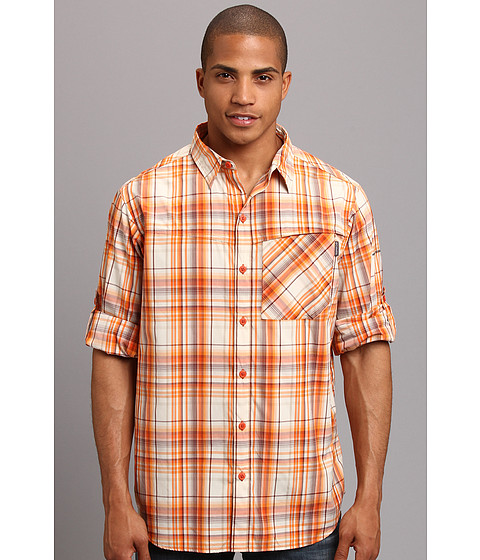 Columbia - Insect Blocker Plaid L/S Shirt (Backcountry Orange Large Plaid) Men's Long Sleeve Button Up