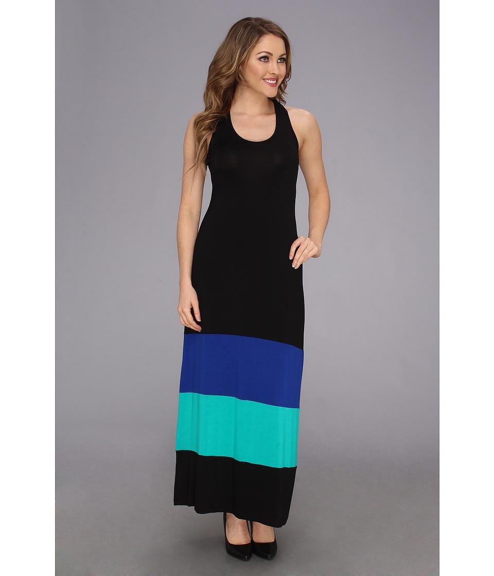 Calvin Klein T Back Color Block Maxi Dress Womens Dress (Black)