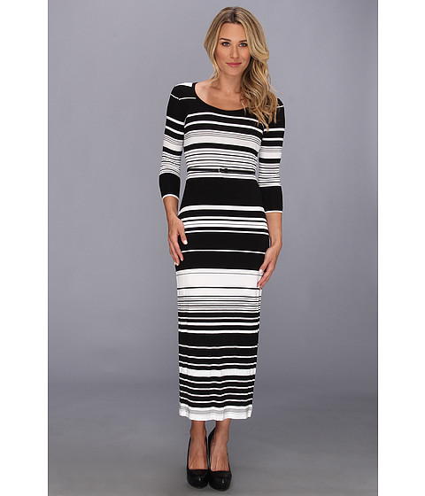 Calvin Klein - Long Sleeve Striped Maxi Dress with Belt (Black/White) Women
