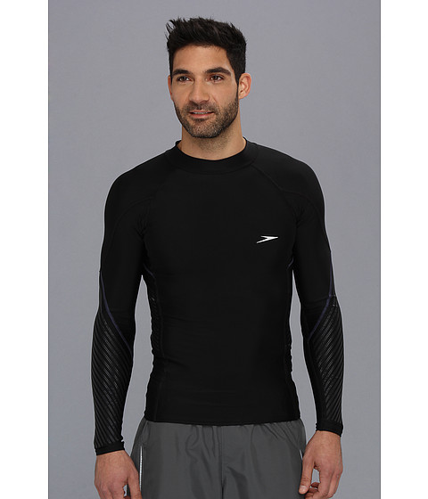 Speedo - Fitness L/S Rashguard (Black) Men's Swimwear