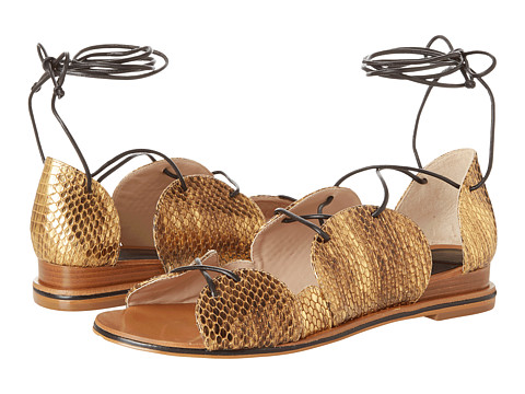 10 Crosby Derek Lam - Penny (Gold Foil Snake Print Leather) Women's Dress Sandals