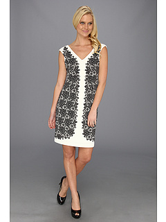 SALE! $44.99 - Save $83 on Maggy London Cap Sleeve Lace Printed Ponte Dress (Soft White Black) Apparel - 64.85% OFF $128.00