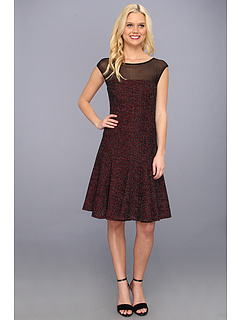 SALE! $71.99 - Save $86 on Maggy London Metallic Tweed Illus Yoke Fit Flare Dress (Crimson) Apparel - 54.44% OFF $158.00
