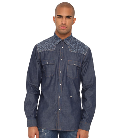 Just Cavalli - Slim Fit Shirt (Blue Denim) Men's Long Sleeve Button Up