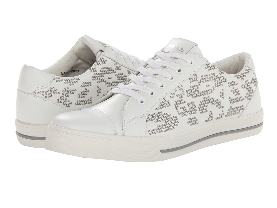 Just Cavalli - Leopard Lace Up Sneaker (White) Men's Lace up casual Shoes