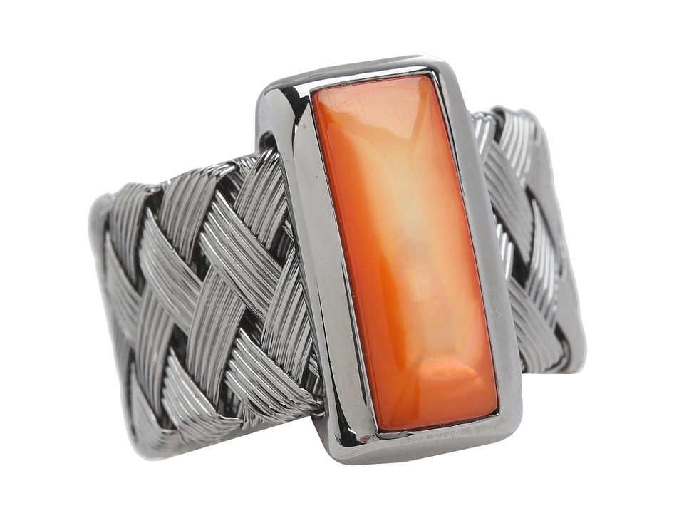 Roberto Coin - Woven Ring with Orange Mother Of Pearl (Orange Mother of Pearl) Ring