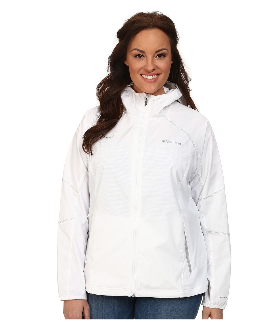 Columbia - Plus Size Sweet As Softshell Hoodie (White/Soft Metal) Women's Coat