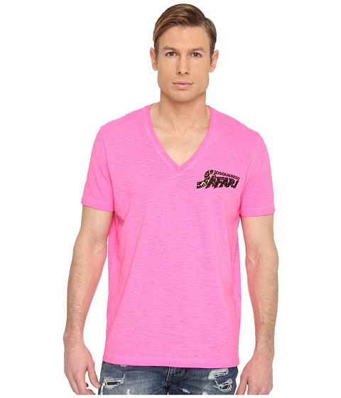 DSQUARED2 - New Surf Fit Safari Cotton Linen Tee (Pink) Men's T Shirt