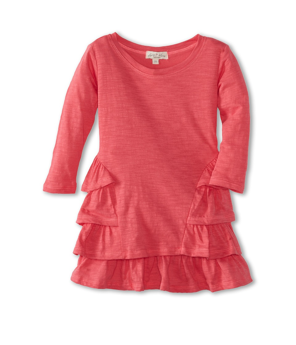 Luna Luna Copenhagen - Softest Slub Jersey Layered Lotus Dress (Toddler/Little Kids/Big Kids) (Cerise) Girl's Dress