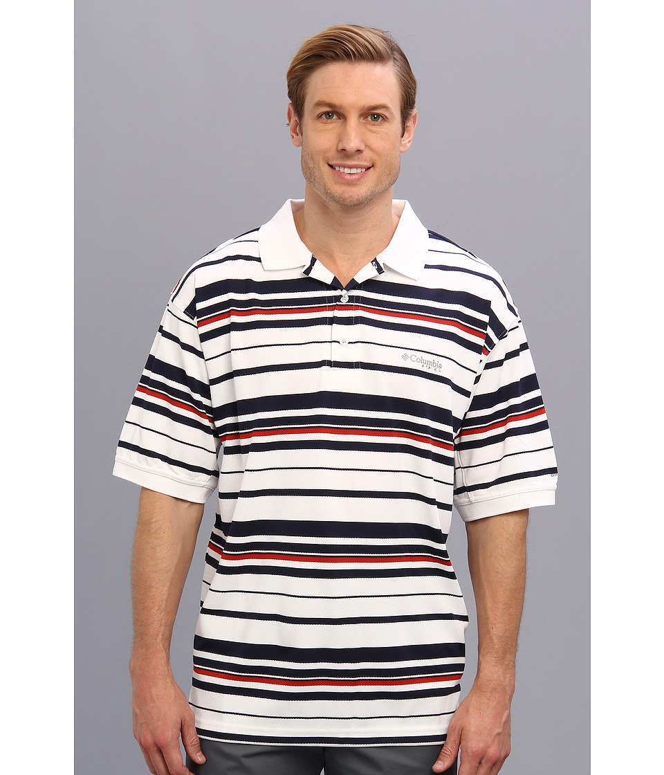 Columbia - Super Cast S/S Polo (Collegiate Navy/Sail Red) Men's Short Sleeve Pullover
