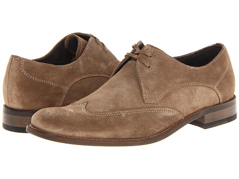 John Varvatos - Dress Wing Tip (Sandstone Suede) Men