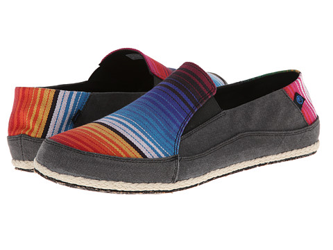 Ocean Minded - Espadrilla Washed Slip On (Black/Multistripe) Men