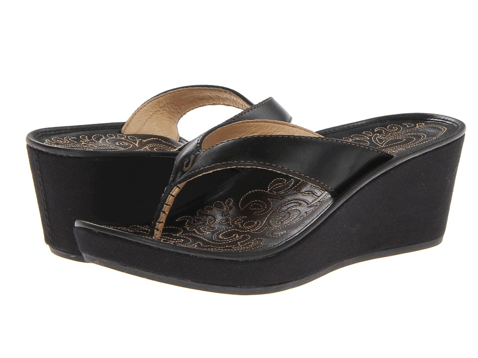 OluKai - Kaula Lio (Black/Black) Women's Sandals